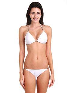 d211d5e7f580b RELLECIGA Women's Metal Triangle Bikini Swimsuit Full Set White Size Large  Makeup Store, Fashion Seasons