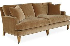 Lee Industries: 3063-11 Apartment Sofa LOVE THIS. COMFY. TRADITIONAL BUT CLEAN. LOVE THE SQUARE ARM AND CLEAN LEGS W/CASTERS. NAVY.