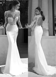 Free shipping, $115.19/Piece:buy wholesale  Mermaid Wedding Dresses with Long Sleeves 2015 Illusion Neckline Wedding Gowns Backless Prom/Evening Dresses Appliques Sheer Bridal Gowns2014 Spring Summer,Model Pictures,Elastic Silk like Satin on andybridal's Store from DHgate.com, get worldwide delivery and buyer protection service.