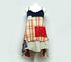 Medium Hippie Boho Shabby Chic Dress Funky Artsy Festival Dress Patriotic Spring Summer Dress Upcycled Clothing by Primitive Fringe by PrimitiveFringe