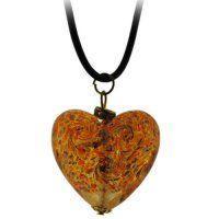 NH9024MS - Srdiečko - náhrdelník z muránskeho skla Murano Glass, Glass Jewelry, Swarovski, Pendant Necklace, Drop Necklace