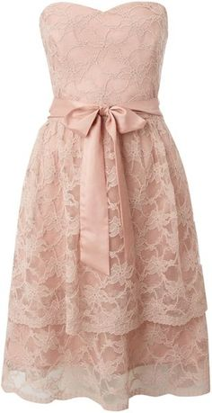 Untold Pink Strapless Lace Layered Dress, but obviously with a modest sweater or shrug of sorts.