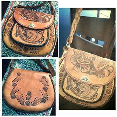 Leather carve bohemian shoulder bag..
