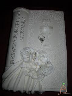 torty komunijny zamknieta ksiega - Google Search Confirmation Cakes, First Communion, Hani, Food, Drink, Education, Baking, Google, First Holy Communion