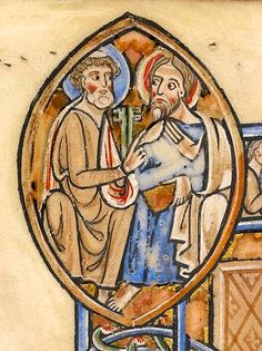 Apostle Peter holds two keys in left hand and extends right hand toward apostle, with right hand raised and book in left hand | Psalter | England, Oxford | between 1212 and 1220 | The Morgan Library & Museum