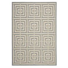 With a neutral palette and eye-catching geometric motif, this indoor/outdoor rug is the perfect accent for your foyer or patio.   P...