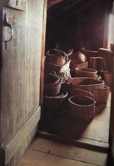 antique storage baskets... baskets were used for storage of everything, before stoneware crocks, jugs and pitchers were developed!!!