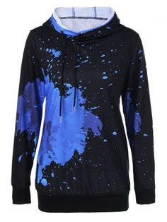 Splatter Paint Drawstring Hoodie - Blue And Black M Mens Fashion Shoes, Fashion Outfits, Womens Fashion, Cheap Fashion, Fashion Site, Fashion Online, Fashion Jewelry, Style Fashion, Cooler Look