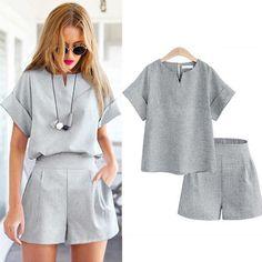 2017 Women Summer Style Casual Cotton Linen Top Shirt Feminine Pure Color Female Office Suit Set Women's Costumes Hot Short Sets