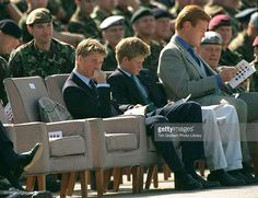 September 1999 ~ Prince William and Prince Harry visit Wattisham Airfield in Suffolk for the launch of the 16 Air Assault Brigade. (Photo by Tim Graham/Getty Images) Prince Harry Young, Prince Harry Of Wales, Prince William And Harry, Prince Henry, Prince Charles, Royal Princess, Prince And Princess, Prince Of England, British Monarchy