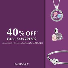 40% OFF Pandora jewelry! Choose from select styles including NEW Arrivals. Shop today! See store for details. #MiamiLakesJewelers #Pandorajewelry @MiamiLakesJewelers