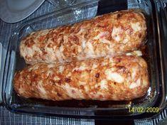 ROCAMBOLE DE FRANGO Pasta, Carne Asada, Kitchen Hacks, Dinner Recipes, Food And Drink, Low Carb, Cooking Recipes, Bread, Cheese