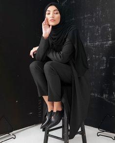 Charcoal Jersey Blazer Black Rayon Blend Jersey Hijab Black Straight Leg Trousers   Inayah.co