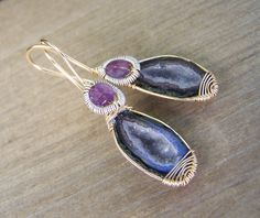 Tabasco Geode Druzy, 14k goldfilled wire wrapped, faceted Amethyst coil wrap sterling silver, handcrafted  earwire, earrings by JPGemJewels on Etsy https://www.etsy.com/listing/203172681/tabasco-geode-druzy-14k-goldfilled-wire