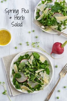 Spring Pea & Herb Salad with Asiago & Parmesan - A fresh and bright salad to welcome Spring! #SpringSalads #RecipeExchange #StellaCheeses @stellacheese  | foxeslovelemons.com