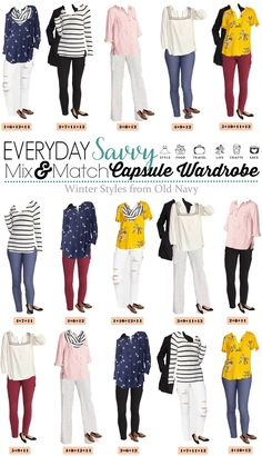 Here is a fun and affordable Old Navy Winter to Spring Capsule Wardrobe. These mix and match outfits transition easily to cute spring outfits for women.