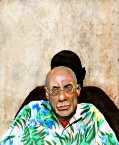 James Ellroy author watercolor portrait painting by workingwoman