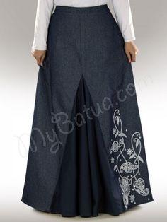 www.mybatua.com        Dina Denim Skirt       Beautiful denim A-line skirt with one side embridery.