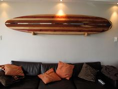 Hockey silhouette wall decor sporting wall art sporting wall art nautical surfboard home decorations themes collectible equipment sporting wall art home Surfboard Wall Rack, Surfboard Storage, Surfboard Decor, Wooden Surfboard, Surf Decor, Wall Decor, Wall Art, Surf House, Beach House Decor