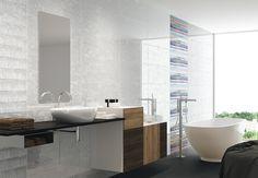 Polo Blanco 12x36 wall tile #fanal Bathtub Surround, Wall Tiles, Vanity, Shower, Bathroom, Polo, Room Tiles, Dressing Tables, Rain Shower Heads