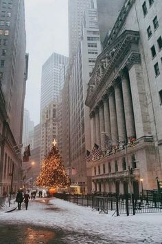 Wall Street at Christmas time. NYC.
