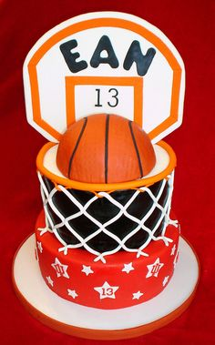 Basketball hoop cake