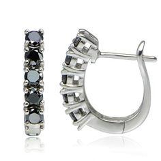 Стерлинг-серебро-1-25ct-TDW-Enhanced-Black-Даймонд-Hoop-серьги