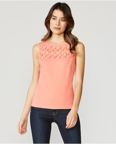 7e4acb5b0192e5 The Bailey 44 Transcendental Top is a sleeveless ponte top with a scoop  neckline. Features