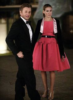 Inspiration - pink dress, silver shoes, swingy pony tail. Carrie Bradshaw in Oscar del a Renta