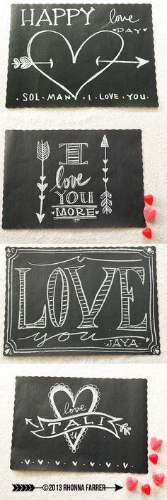 Rhonna DESIGNS: Valentine Place Mats...#chalkboard aRt!