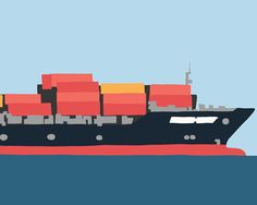 Container ship on the Bay (bow).