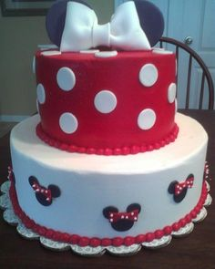 Minnie Mouse. Made my daughters birthday cake similar to this. I used pink instead of red. Also, I put the happy birthday and a Minnie candle on top instead of the bows and ears.