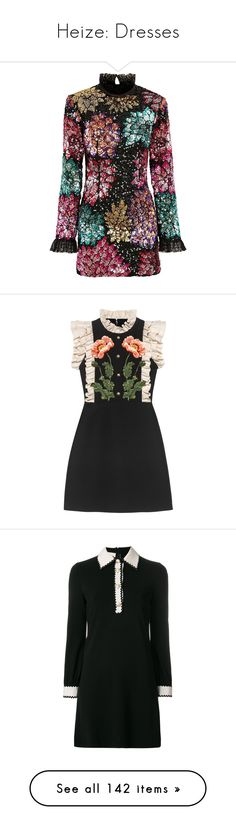 """Heize: Dresses"" by daniquiroz10 ❤ liked on Polyvore featuring dresses, multi colored sequin dress, multi coloured dress, multi print dress, sequin cocktail dresses, multi-color dress, vestidos, black, flutter-sleeve dresses and embroidered dress"