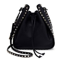 Valentino Large Rockstud Leather Bucket Bag ($1,595) ❤ liked on Polyvore featuring bags, handbags, shoulder bags, black, valentino handbags, handbag satchel, leather shoulder handbags, genuine leather shoulder bag and leather satchel
