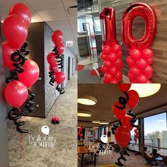 This company opted for balloons around the office to celebrate their 10 year business anniversary!⠀ ⠀ #balloondecor #companyanniversary #officeparty