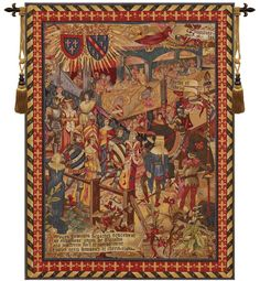 Size: 42 inch width by 58 inch height Weight: 4 pounds Composition: 50% Wool, 40% cotton and 10% others Finish: Backed with lining and tunnel for easy hanging. Primary Color: Red Product Care: Gently