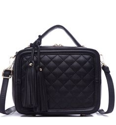 """Add a touch of luxe appeal to your daytime look with this quilted box satchel, which converts from a hands-free crossbody to a chic handbag. - Single top handle- Detachable adjustable strap- Top zip closure - Interior features 1 middle zip pouch, 1 zip wall pocket and 2 slip in wall pockets.- Approx. 8"""" H x 10"""" W x 4""""D- PU exterior, fabric lining"""