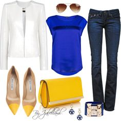 A fashion look from August 2013 featuring satin top, blazer jacket y True Religion. Browse and shop related looks.