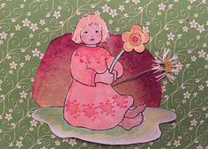 Collage getrocknete Blumen und Wurzelkinder Ausmalbogen