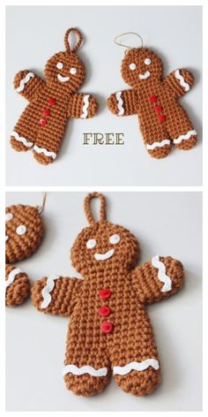 Crochet Ornament Patterns, Holiday Crochet Patterns, Crochet Ideas, Crochet Christmas Ornaments, Christmas Knitting, Christmas Crafts, Crochet Crafts, Free Crochet, Sewing Crafts
