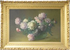 """CHARLES ETHAN PORTER (1847-1923) Peonies oil on canvas signed lower right C. E. Porter,26"""" x 36"""", original letters from Vernon Historical Society for this painting to be on loan from September 29, 1989 through November 1, 1989, and exhibited October 6-28., also photoed in color in The Connecticut Gallery, Charles Ethan Porter catalogue book, page 99, plate XXI, Nadeau's has sold over forty C.E. Porter paintings over the past 25 years and we feel this is the largest and best we have ever…"""