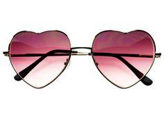 Retro Fashion Silver Metal Heart Shaped Sunglasses W1534