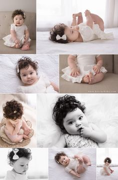 "Olivia is such a pretty baby, with those sweet chubby cheeks and those curls! She came in to the studio for her ""sitting up"" milestone - and she rocked it! 6 Month Baby Picture Ideas, Baby Girl Pictures, 6 Month Pictures, Newborn Baby Photos, Baby Poses, Baby Girl Portraits, 8 Month Old Baby, Milestone Pictures, Baby Girl Photography"