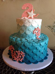 mermaid/under the sea themed birthday cake.