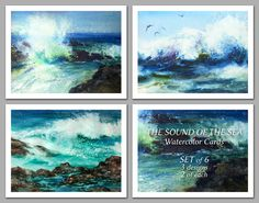 Watercolor Set of 6 NOTE CARDS  Paintings by by LindaHenryArt