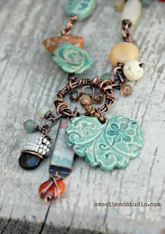 {6th Bead Soup Blog Party)} Wire work necklace by Cindy Wimmer featuring beautiful ceramic beads from swap partner, Nan Emmett.  #beadsoupblogparty #cindywimmer, #sweetbeadstudio