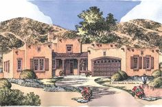 Adobe House Plan with 1883 Square Feet and 3 Bedrooms(s) from Dream Home Source | House Plan Code DHSW41898