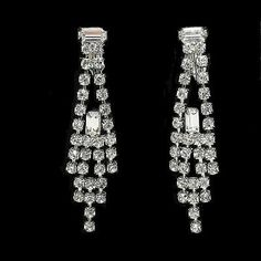 Classic Baguette Rhinestone Earrings Shoulder Dusters Sparking Clip On Drops  | eBay