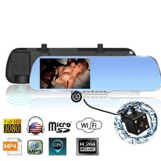 """99.78$  Watch now - http://aliqaq.worldwells.pw/go.php?t=32647035558 - """"5.0"""""""" Android 4.4 Car GPS Navigation Rearview Mirror Radar Detectors Allwinner A33 1080P Car DVR with Wide Angle Rear Camera"""""""