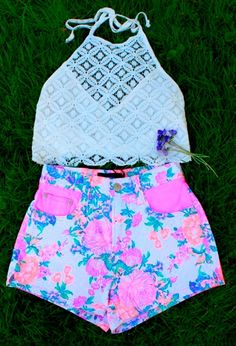 Crochet crop top and neon floral high waisted shorts. Oh mah god, already have the shorts!